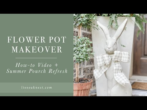 Flower Pot Makeover, French Cottage Farmhouse Summer Porch Refresh