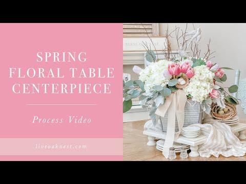 Spring Floral Table Centerpiece, Spring Floral Arrangement DIY