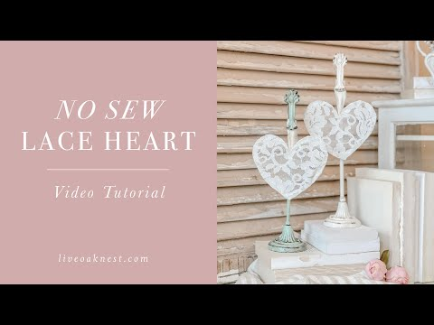 DIY Shabby Chic Lace Heart, Valentines Decorations DIY
