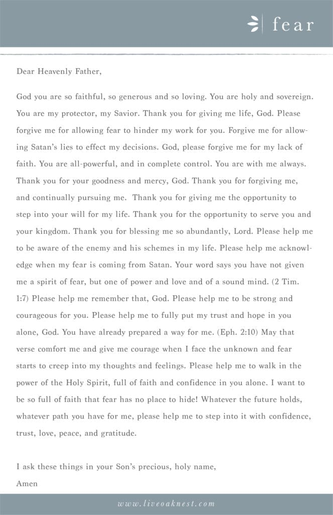Prayer Strategy for Fear from the book Fervent by Priscilla Shirer