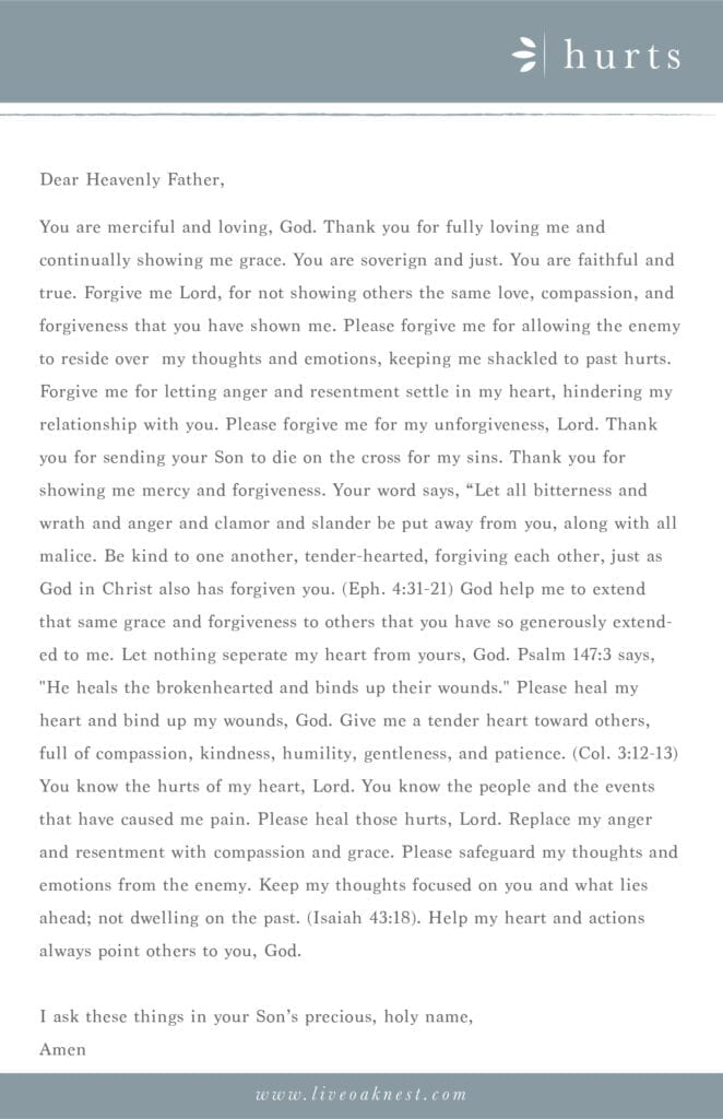 Prayer Strategy for Hurts from the book Fervent by Priscilla Shirer from Live Oak Nest