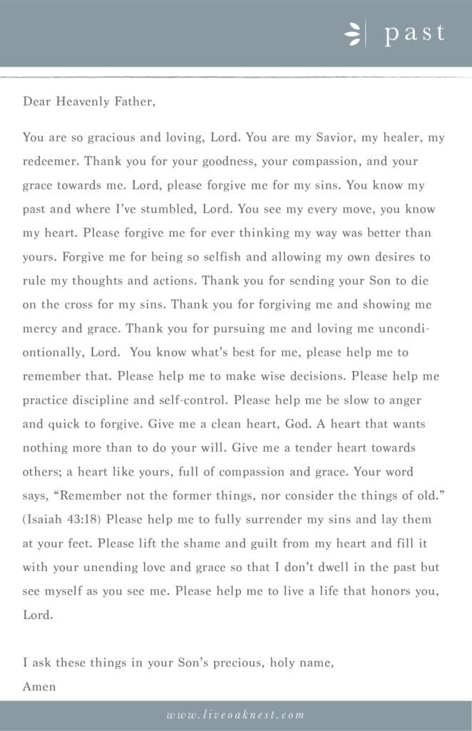 Prayer Strategy for your Past from the book Fervent by Priscilla Shirer