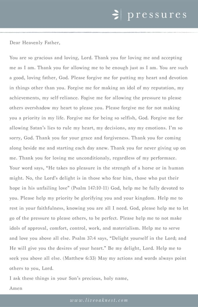 Prayer Strategy for Pressures from the book Fervent by Priscilla Shirer from Live Oak Nest