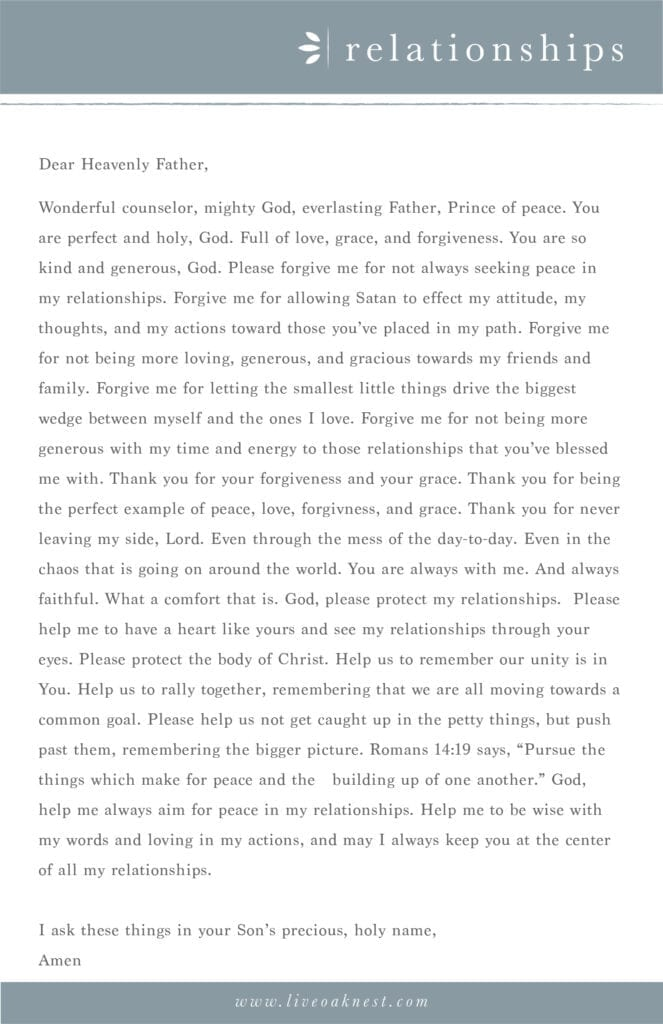 Prayer strategy for relationships from the book Fervent by Priscilla Shirer from Live Oak Nest