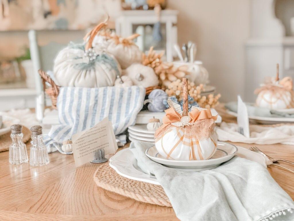Fabric pumpkins with fall tablescape from Live Oak Nest. liveoaknest.com
