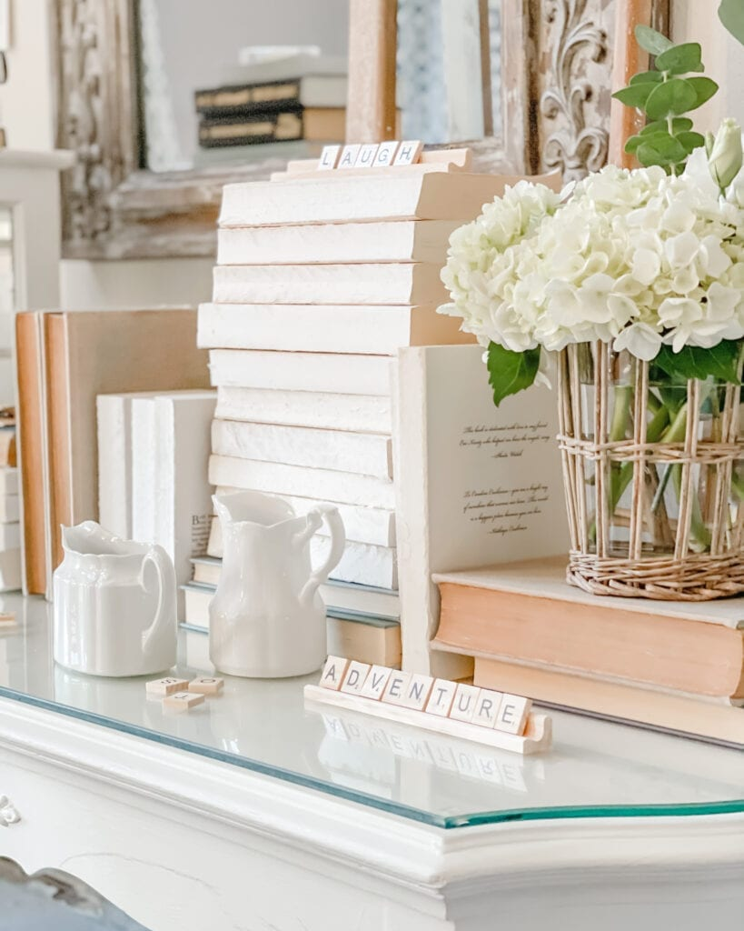 Scrabble Letter Decor and Book Stack from Live Oak Nest www.liveoaknest.com
