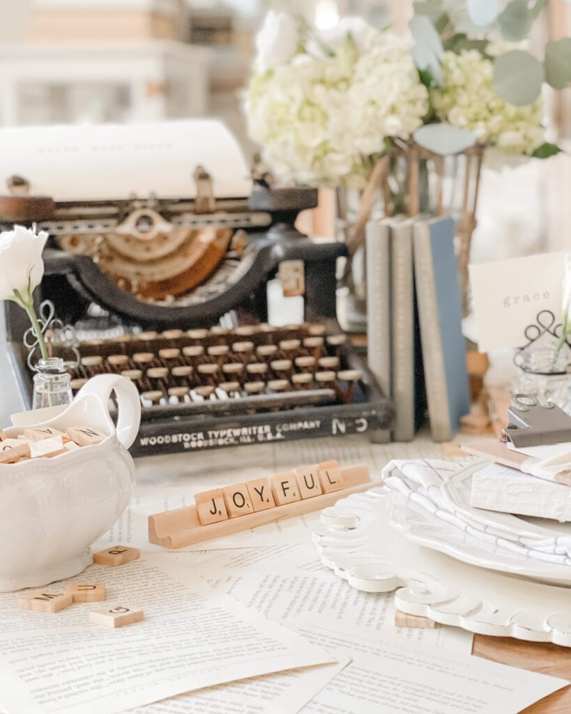 Word of the Year Scrabble Letters and Tablescape from Live Oak Nest www.liveoaknest.com