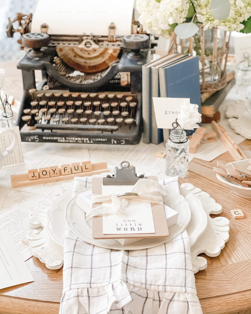 Word of the year, one little word, one word tablescape with scrabble tiles and antique typewriter from Live Oak Nest www.liveoaknest.com
