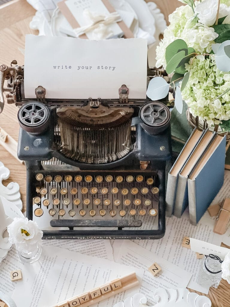 Write Your Story Antique Typewriter One Little Word from Live Oak Nest www.liveoaknest.com