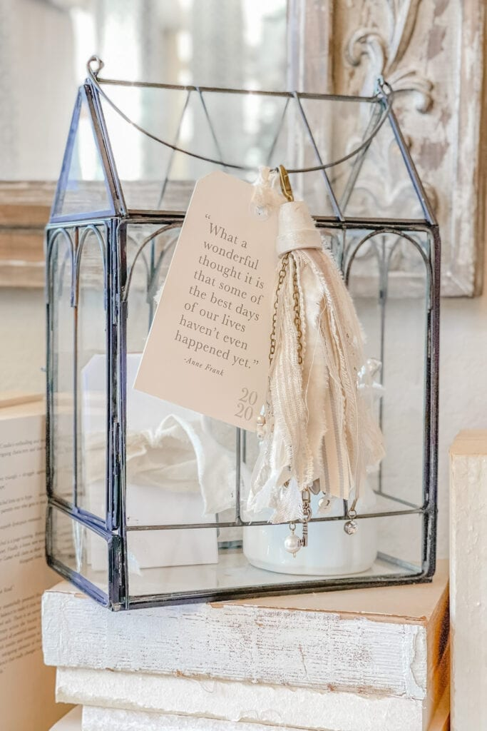 Black Wire Glass Terrarium Joy Jar with Shabby Chic Cottage Tassel and Free Printable Tags from Live Oak Nest www.liveoaknest.com