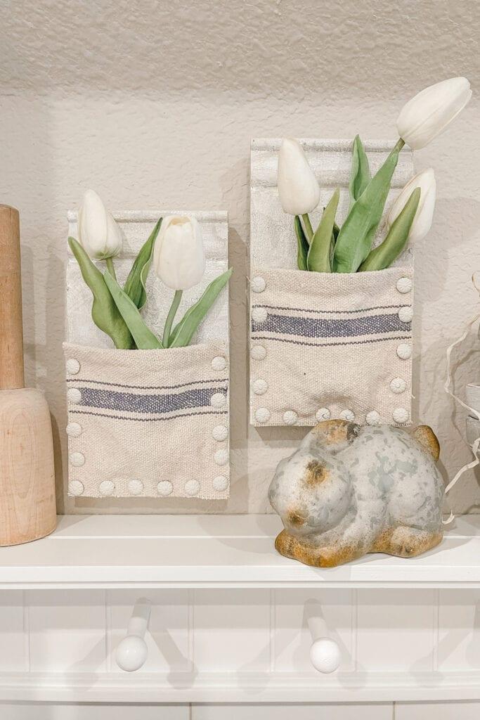DIY Wood Wall Pocket, How to distress wood, hanging wall vase, flower wall pocket, cottage home decor, spring home decor diy from Live Oak Nest www.liveoaknest.com