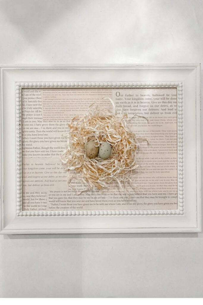 Step 5: Place it back into the frame to complete your bird nest art and craft. Live Oak Nest www.liveoaknest.com