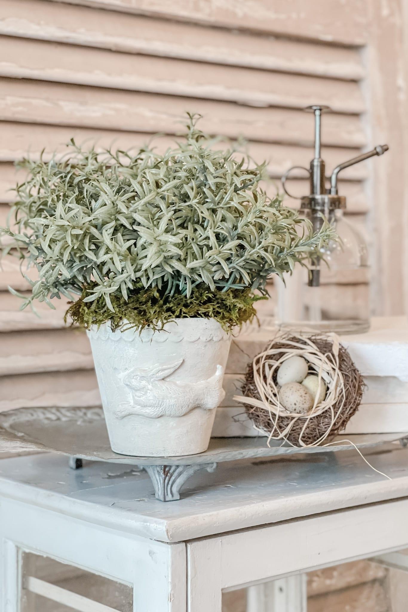 Spring Home Decor DIY, Bunny Decor DIY, DIY Faux Plant Decor from Live Oak Nest www.liveoaknest.com