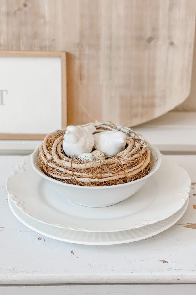 Spring Home Decor, Bird Nest Decor, Spring Vignette, White Ceramic Bird Figurines from Live Oak Nest www.liveoaknest.com
