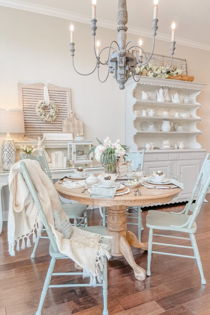 Shabby Chic Pastel Home, French Cottage Dining Room from Live Oak Nest www.liveoaknest.com