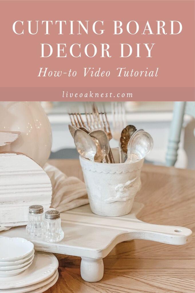 Cutting Board Decor DIY, Wood Riser Tray DIY from Live Oak Nest www.liveoaknest.com