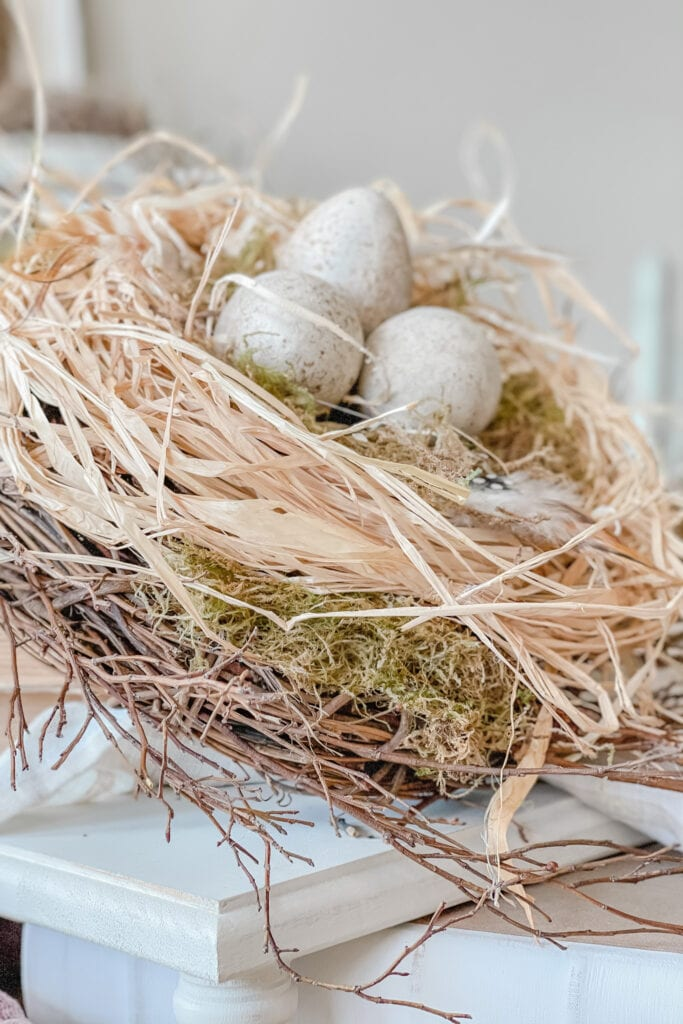 Spring Bird Nest DIY, Spring Table Centerpiece Idea, Spring Dining Table Decor, Spring Table Ideas, DIY Bird Nest Tutorial from Live Oak Nest www.liveoaknest.com