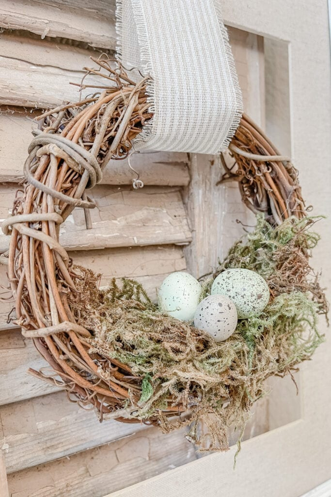 Small Spring Wreath, Spring Wall Decor, Grapevine Wreath, Speckled Eggs from Live Oak Nest www.liveoaknest.com