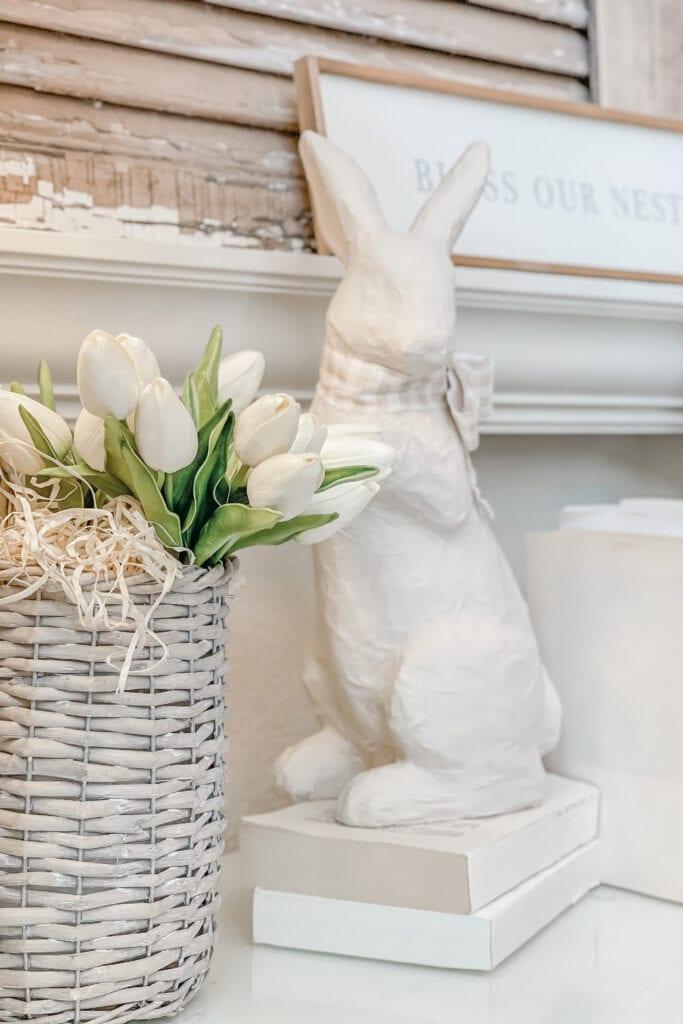 Spring Home Decor Ideas, Bunny Decor, Spring Tulips, Floral Basket from Live Oak Nest www.liveoaknest.com