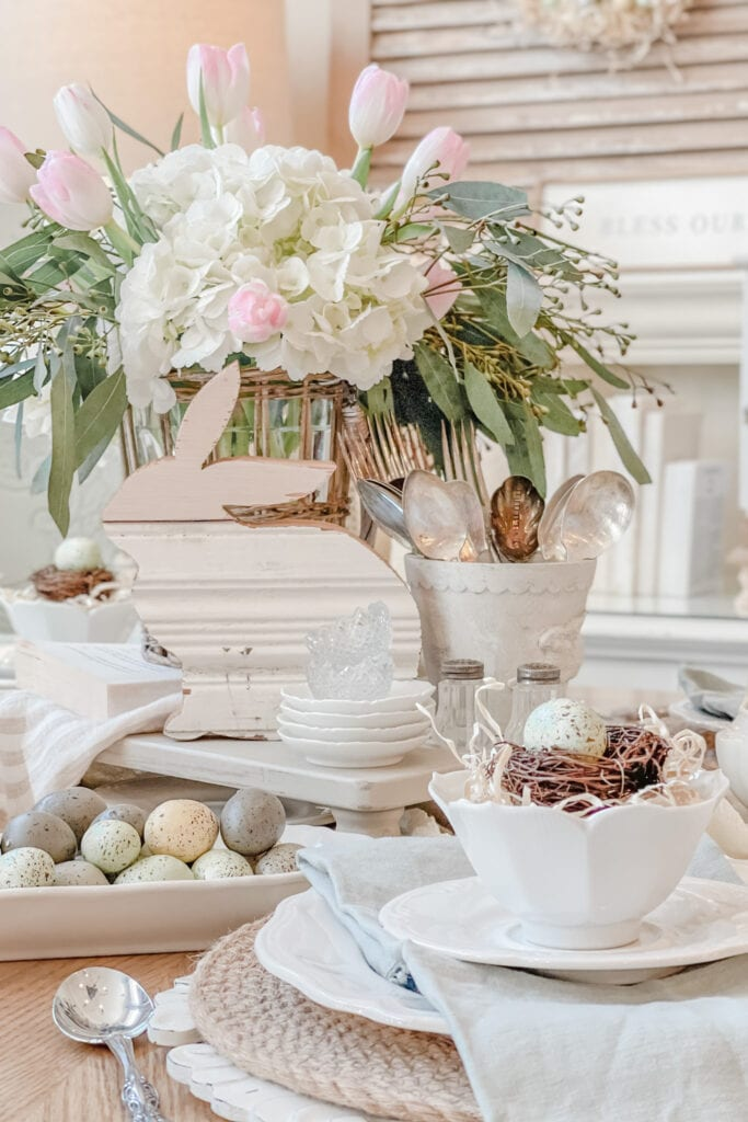 French Country, Easter Tablescape, Spring Table Centerpiece from Live Oak Nest www.liveoaknest.com