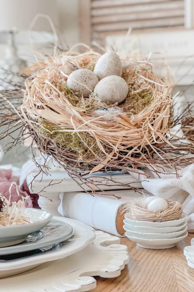 Spring Table Centerpiece Idea, Spring Dining Table Decor, Spring Table Ideas, DIY Bird Nest Tutorial from Live Oak Nest www.liveoaknest.com