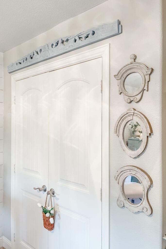 Antique Farmhouse Mirrors, French Cottage Farmhouse Home Office Tour from Live Oak Nest www.liveoaknest.com