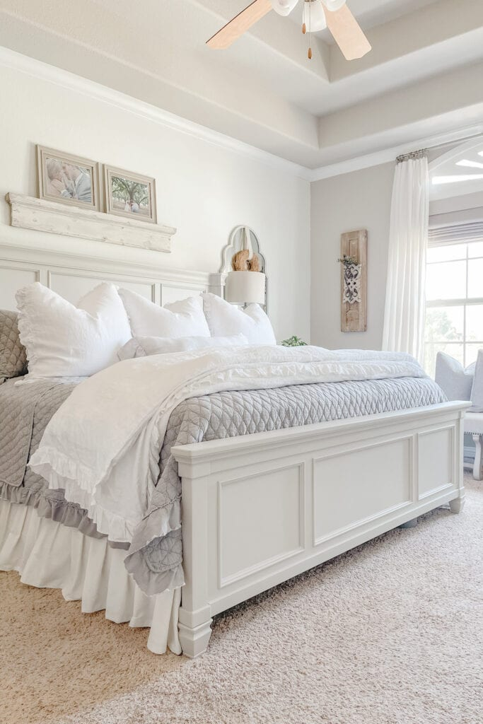 French Cottage Farmhouse, Cozy Bedding, Farmhouse Bedroom, Shabby Chic Bedding from Live Oak Nest www.liveoaknest.com