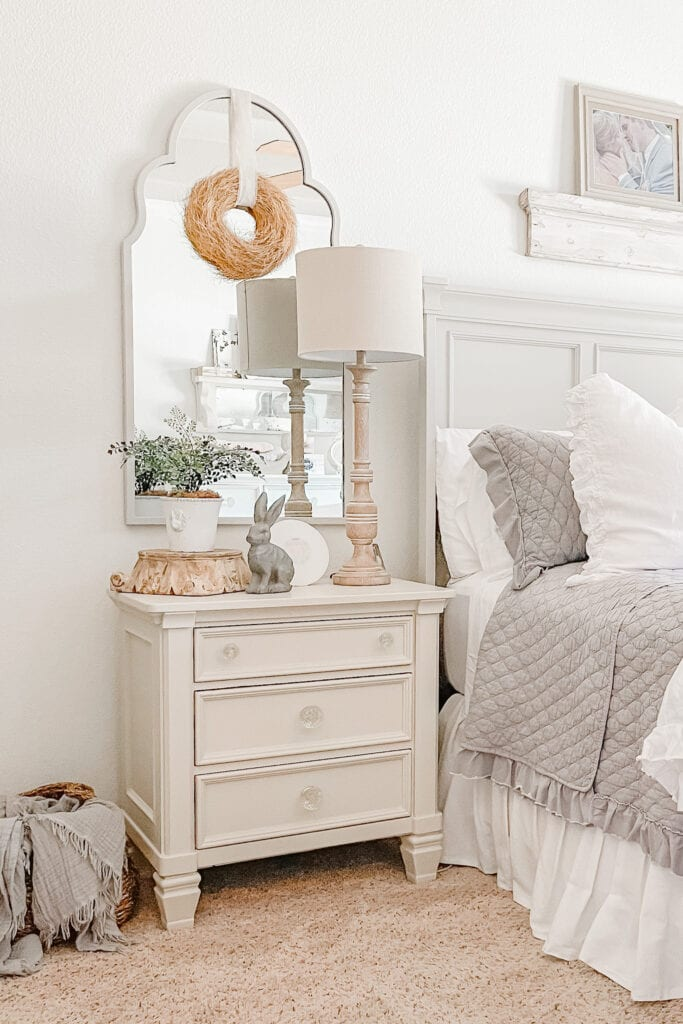 French Cottage Farmhouse, Fusion Mineral Painted Nightstand, Farmhouse Bedroom, Shabby Chic from Live Oak Nest www.liveoaknest.com