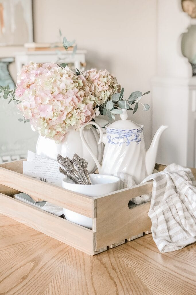 French Cottage Farmhouse Spring Floral Table Centerpiece, Antique Blue and White Teapot from Live Oak Nest