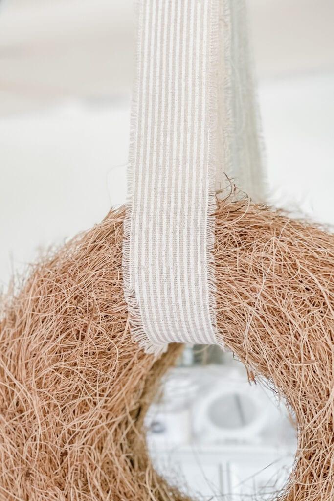 French Stripe Ribbon, Natural straw wreath from Live Oak Nest www.liveoaknest.com