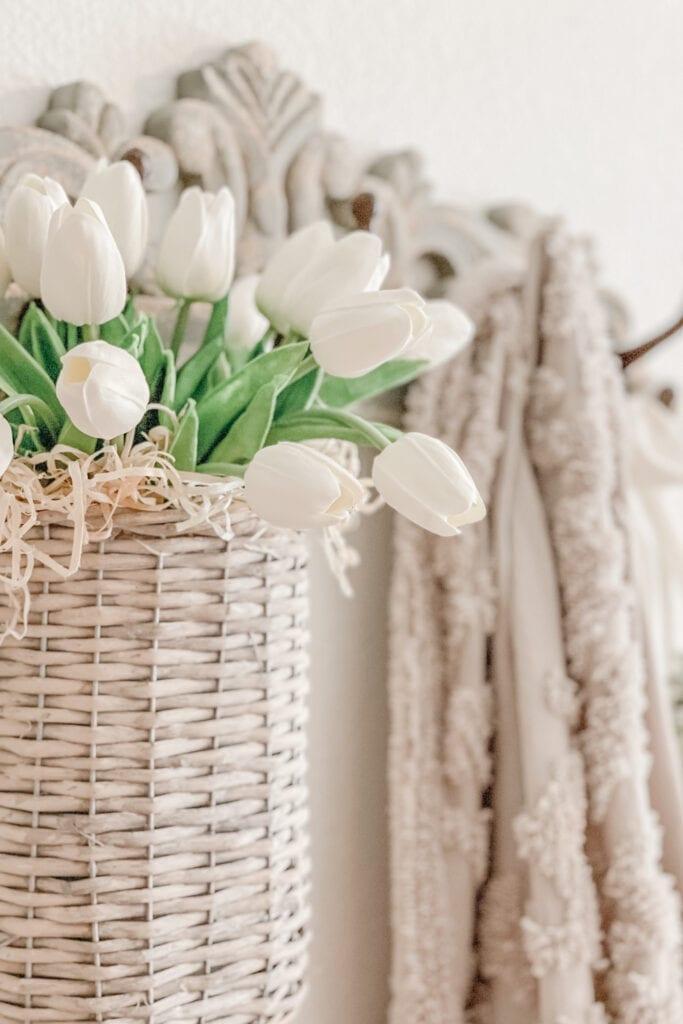 Cottage Farmhouse Basket of Tulips from Live Oak Nest www.liveoaknest.com