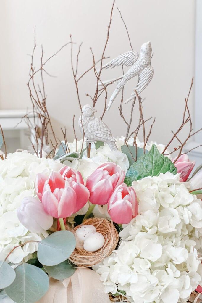 Spring Floral Table Centerpiece, Tulip, Lambs Ear, Hydrangea, Bird Nest, Iron Orchid Design Bird Song Mould, Bucket of Flowers Arrangement, French Cottage Farmhouse Home Decor from Live Oak Nest www.liveoaknest.com
