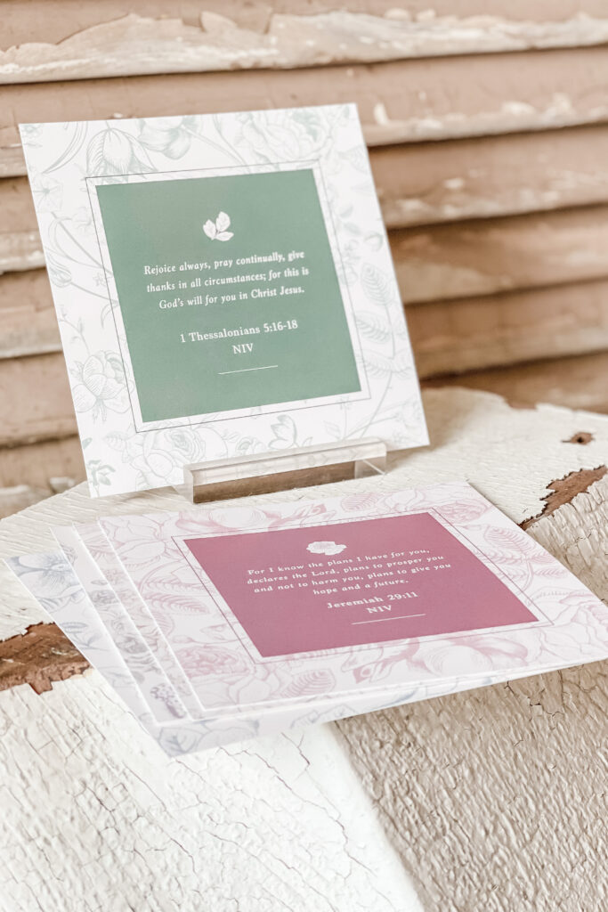 Mother's Day Gift Ideas, French Cottage Farmhouse Home Decor, Scripture Cards, Display Cards