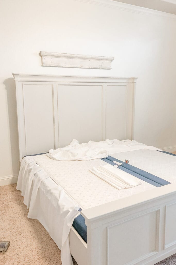 French Cottage Farmhouse Bedroom, No Sew Bed Skirt, Bleach Drop Cloth Bed Skirt, Drop Cloth DIY, DIY Bed Skirt from Live Oak Nest www.liveoaknest.com