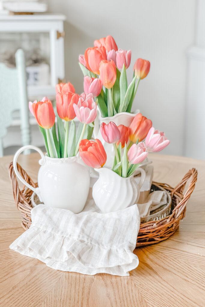 Live Oak Nest Table Centerpiece of Tulips
