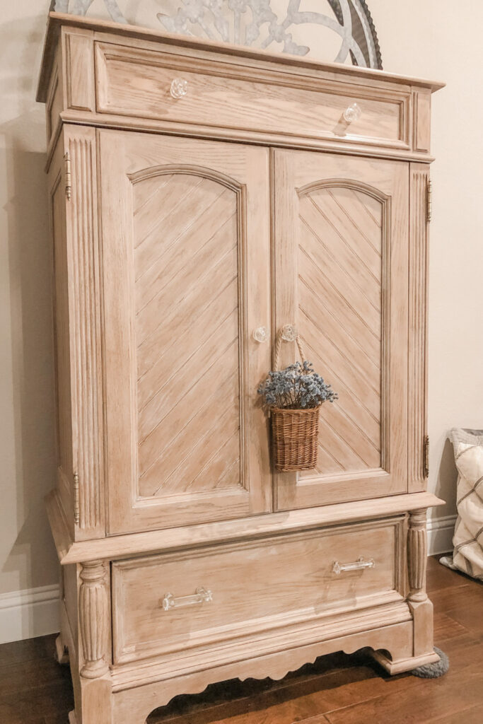 TV Wooden Cabinet Makeover, French Cottage Farmhouse, Furniture Makeover Lime Wax Dark Wax, from LIve Oak Nest www.liveoaknest.com