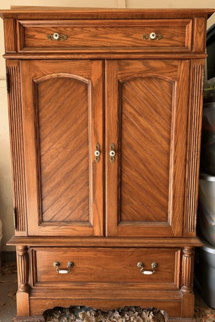 TV Wooden Cabinet Makeover, French Cottage Farmhouse, Furniture Makeover from LIve Oak Nest www.liveoaknest.com