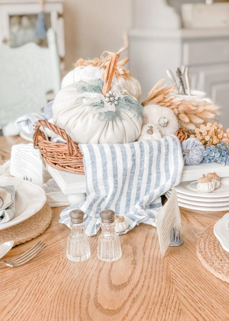 DIY Fabric Pumpkin, Blue Stripe Ruffle Linen Tea Towel, French Cottage Chic, Live Oak Nest www.liveoaknest.com