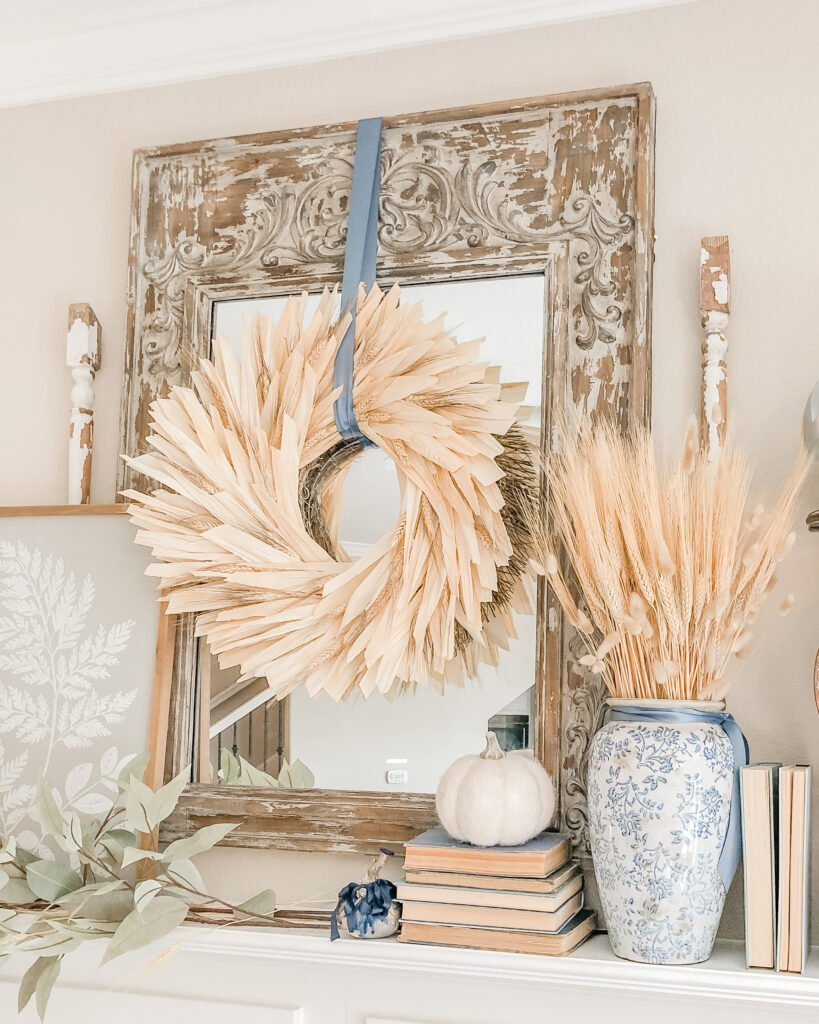 Corn Husk Wreath, Fall Mantle Decor Inspiration, Farmhouse Fall Decor from Live Oak Nest www.liveoaknest.com