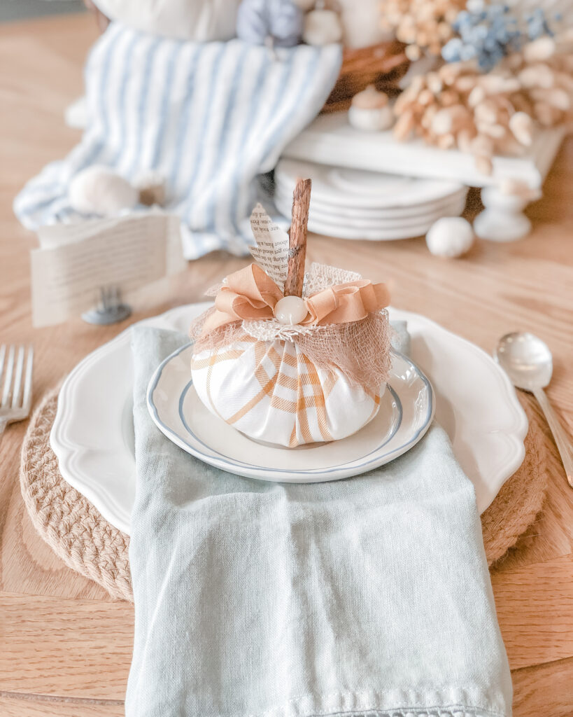 DIY Fabric Pumpkin, Fall Crafts, Fall Home Decor DIY, Fall Tablescape Inspiration, Fall Place Setting, French Cottage Farmhouse from Live Oak Nest www.liveoaknest.com