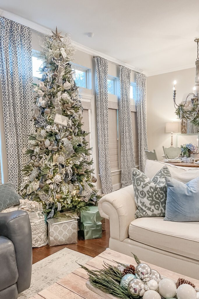 Christmas Tree Decorations, Christmas Tree Decor, Christmas Tree Inspiration, Blue Christmas, Elegant Christmas Decor from Live Oak Nest, French Cottage Farmhouse