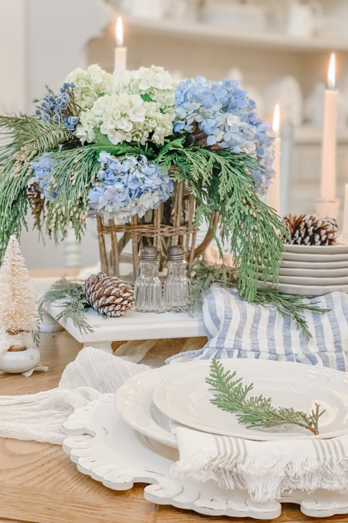 Christmas Floral Arrangement, Blue Christmas, Christmas Table Centerpiece from Live Oak Nest, French Cottage Farmhouse