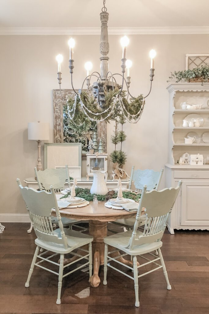 Christmas Tablescape, Christmas Table Centerpiece, Dining Room Christmas Decorations, French Country Chandelier from Live Oak Nest, French Cottage Farmhouse