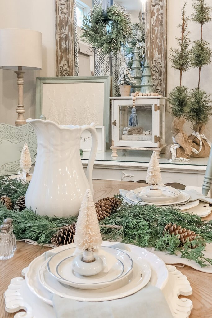 DIY Christmas Decor, Christmas Tree Crafts, Vintage Door Knob Bottle Brush Tree, Christmas Tablescape, Christmas Place Setting, Blue Christmas Decor