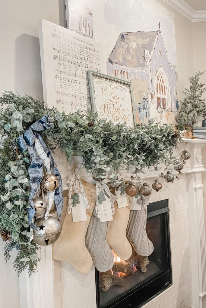 Christmas Cottage Home Tour, Pretty Christmas Decor, Christmas Mantle, Blue Christmas Decor from Live Oak Nest, French Cottage Farmhouse