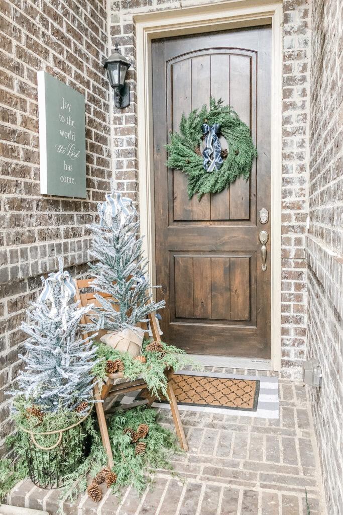 Christmas Porch Decor, Small Christmas Porch, Christmas Porch Sign, Christmas Wreath from Live Oak Nest, French Cottage Farmhouse