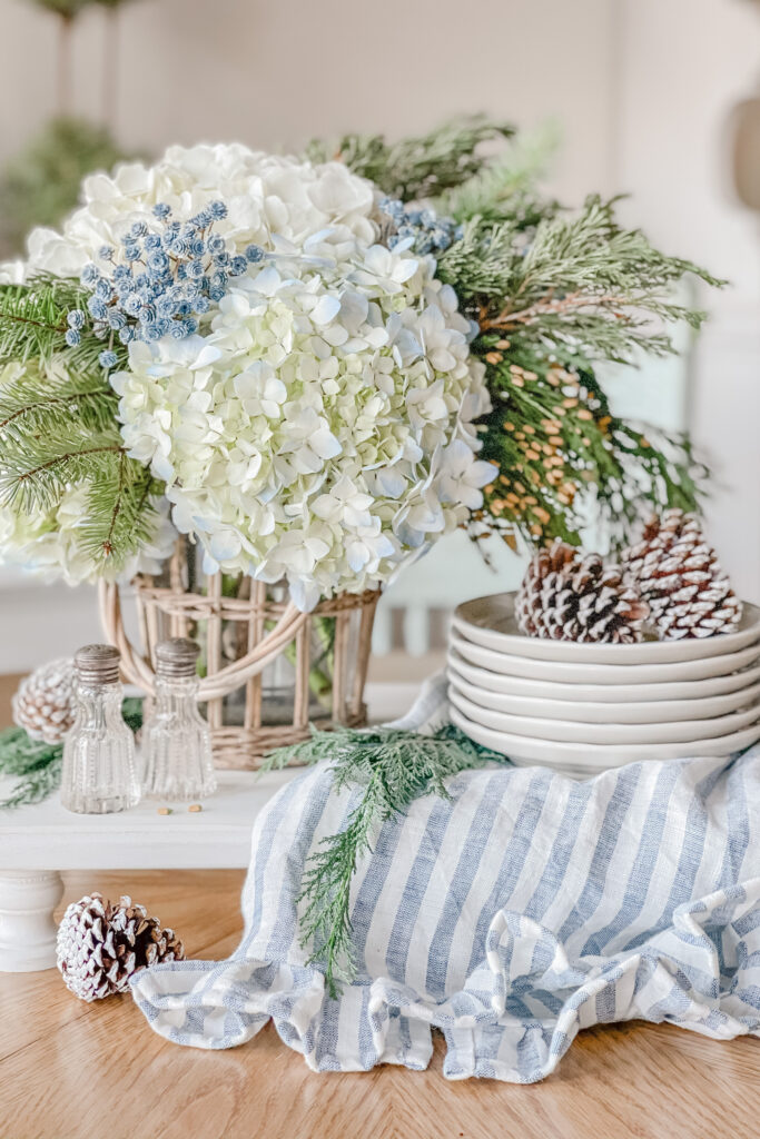 Winter Table Centerpiece, Christmas Table Centerpiece from Live Oak Nest, French Cottage Farmhouse