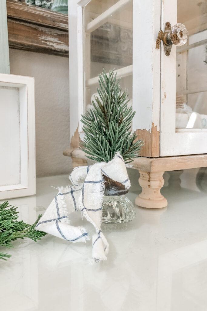 Vintage Glass Crystal Door Knob Bottle Brush Tree, DIY Mini Christmas Tree