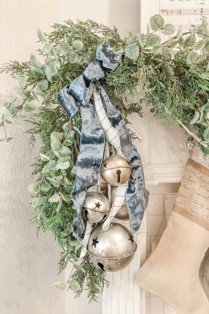 Christmas Mantle Garland, Christmas Bells from Live Oak Nest, French Cottage Farmhouse