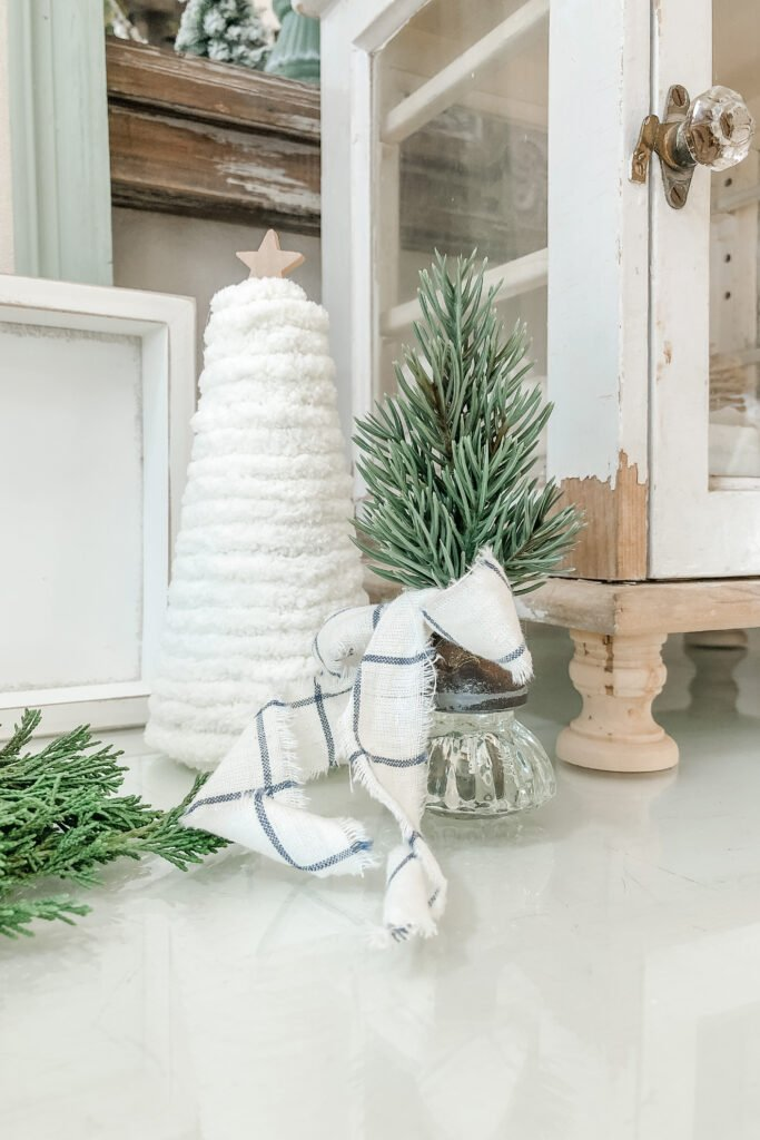 DIY Mini Christmas Tree Crafts, Vintage Door Knob Bottle Brush Tree, Yarn Christmas Tree, Cone Christmas Tree Craft